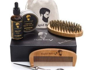Beard Grooming   Trimming Kit for Men Care   Beard Brush  Beard Comb  Unscented Beard Oil leave in Conditioner  Mustache   Beard Balm Butter Wax  Barber Scissors for Styling  Shaping   Growth Gift set