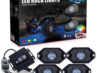 MICTUNING 2nd Gen RGB lED Rock lights with Bluetooth Controller  Timing Function  Music Mode   4 Pods Multicolor Neon lED light Kit