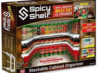 Spicy Shelf Deluxe   Expandable Spice Rack and Stackable Cabinet   Pantry Organizer  1 Set of 2 shelves    As seen on TV