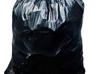 64 65 Gallon Trash Bags for Toter   50 Case w Ties  large Black Garbage Bags  50 W x 60 H
