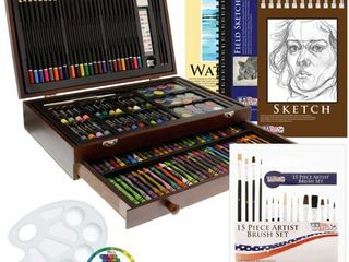 US Art Supply 162 Piece Deluxe Mega Wood Box Art  Painting   Drawing Set That Contains All The Additional Supplies You Need to get Started
