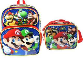 Super Mario Deluxe Full Size 16 Inch Backpack with Insulated lunch Tote