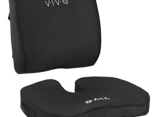 VIVO Black Memory Foam Seat Bottom and Back Cushion Combo Designed for Office Chairs   Adjustable Security Straps and Comfort Padding  CUSH V02K