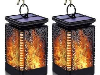 Solar lantern lights Outdoor Hanging Patio Decor with Flickering Dancing Flame  Waterproof Solar Powered lED lantern Decorative lights for Patio Yard Garden Table Decoration  2 Pack