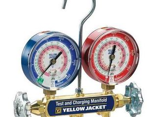 Yellow Jacket 42001 Manifold with 3 1 8  Color Coded Gauges  psi  R 22 404A 410A  Clamshell