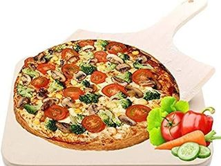 Pizza Stone  Merrynice Pizza Grilling Baking Cooking Stones with Wooden Pizza Peel for Grill Oven BBQ Non Stick Safe Shock Resistant Durable 15x12 Inch Rectangular  R  STONE IS BROKEN
