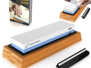 Sharp Pebble Premium Whetstone Knife Sharpening Stone 2 Side Grit 1000 6000 Waterstone   Best Whetstone Sharpener   NonSlip Bamboo Base   Angle Guide