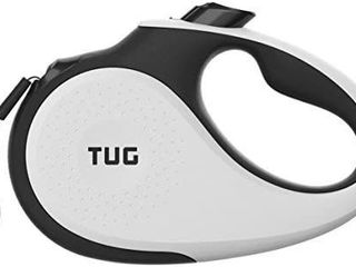 TUG 360A Tangle Free  Heavy Duty Retractable Dog leash for Up to 55 lb Dogs  16 ft Strong Nylon Tape Ribbon  One Handed Brake  Pause  lock
