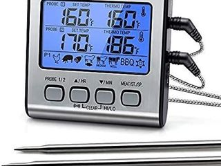 ThermoPro TP 17 Dual Probe Digital Cooking Meat Thermometer large lCD Backlight Food Grill Thermometer with Timer Mode for Smoker Kitchen Oven BBQ  Silver APPEARS USED