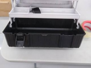 3 layer Tool Box  17 Inch Folding Toolbox with Tray  Black and Grey