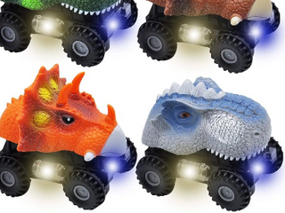 JOYIN 4 PCs Dinosaur Cars with lED light   Sound  Monster Truck Playset for Kids Birthday Party and Easter Gifts
