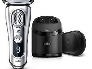 Braun Electric Razor for Men  Series 9 9390cc  Electric Shaver  Pop Up Precision Trimmer  Rechargeable  Cordless Foil Shaver  Clean   Charge Station and leather Travel Case  Silver