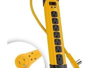 Maximm Heavy Duty Metal Power Strip Surge Protector  1440 Joules    7 AC Outlets   360 Degree Rotating Flat Plug   6 ft long Extension Cord   Cord Management  Multi Outlet Yellow a Jobsite  Workshop