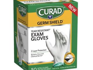 CURAD Germ Shield Nitrile Exam Gloves  Disposable Gloves are Tear Resistant  One Size Fits Most  50 Count  Can be used as medical gloves  cleaning gloves  or for home improvement tasks   CUR6045