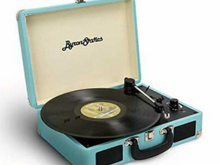 Byron Statics KCT 601 Turntable Record Player Speaker Portable Vinyl Player 3 Speed Dust Free Suitcase Autostop RCA Output AUX Input Headphone Jack Extra Stylus Free Audio Cable 9W Teal