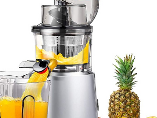 AMZCHEF Slow Juicer Slow Masticating Juicer Cold Press Juicer Vegetable Fruit Extractor Juicer Machine Vertical Reverse Function Quiet Motor Big Feed Chute Juice Jug Brush BPA Free 56RPM