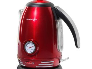 Nostalgia RWK150 Retro Stainless Steel Electric Water Kettle  Holds 1 7 liters  Auto Shut Off   Boil Dry Protection  360 Degree Rotating Base  Water level Indicator Window  Perfect For Tea
