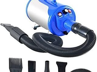 SHElANDY 3 2HP Stepless Adjustable Speed Pet Hair Force Dryer Dog Grooming Blower with Heater Blue