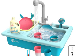 CUTE STONE Color Changing Kitchen Sink Toys  Children Heat Sensitive Electric Dishwasher Playing Toy with Running Water  Automatic Water Cycle System Play House Pretend Role Play Toys for Boys Girls