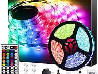 Bathebright lED Strip lights 16 4ft RGB lED light Strip with Remote Color Changing 5050 lED Rope lights for lighting Kitchen Bed Bar Home Decoration ADHESIVE EXPOSED
