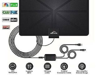 2020 latest  HDTV Antenna Indoor Digital TV Antenna  60 Miles Range with Amplified Signal Booster Support 4K 1080P Freeview Channels   13 2Ft Coaxial Cable and Power Adapter