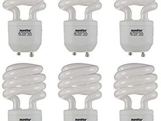 Sunlite 41154 SU Compact Fluorescent T2 Spiral Standard Household Energy Saving CFl light Bulb  18 Watt   75W Eqivilant  GU24 Base  27K Warm White  6 Pack