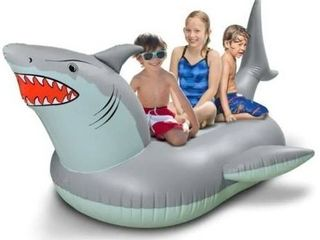 GoFloats Giant Inflatable Shark Pool Float   Raft Includes Bonus Shark Drink Float   Swimming Fun for Kids and Adults  Gray