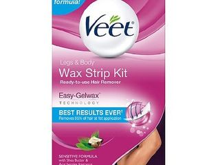 Hair Removal Wax Strips  VEET Easy  Gelwax Technology  Sensitive Formula Ready to Use Hair Remover Wax Strip Kit with Shea Butter  40 wax strips with 4 wipes Set of 2