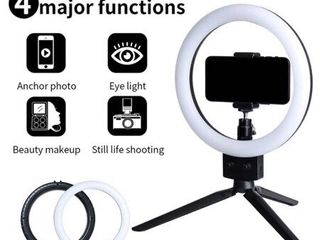7  Infinite Dimming Double Color Temperature lED Ring lamp and Mini Tabletop Tripod US Standard   light Size 7