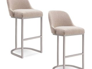 Barrelback Oatmeal linen Bar Stool with Pewter Metal Base Set of 2  Retail 305 99