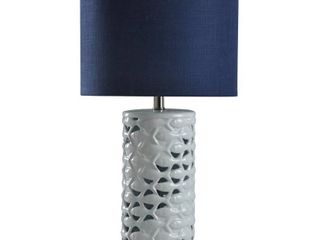 StyleCraft School of Fish Cylindrical White Table lamp   Navy Blue Shade  Retail 94 07