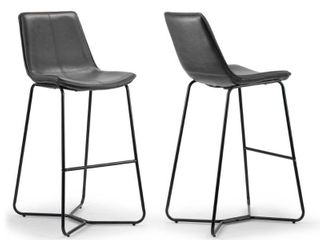 Amery Vintage Grey Faux leather Iron Frame Bar Stool  Set of 2    Retail 179 99