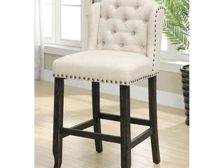 Furniture of America Tays Contemporary linen Fabric Bar Chairs  Set of 2  Retail 344 99