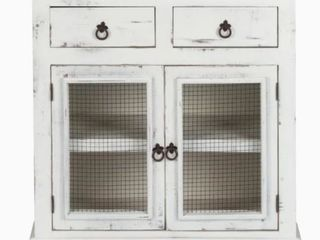 luxurylivingFurniture Solid Wood loft Wire Decor Cabinet  White Distressed  Retail 279 99