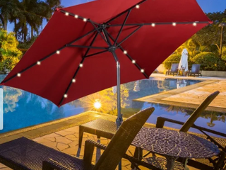 9  Outdoor Patio Umbrella Offset Shade Canopy with lED light  Retail 119 49