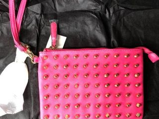 MG Collection Kyrie Gothic Studded Wristlet  Magenta  One Size