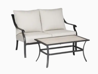 Style Selections Elliot Creek loveseat and Coffee Table Gray Powder Coated Finish