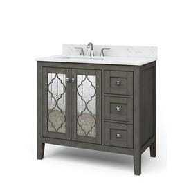 allen   roth Everdene Grey Single Sink Vanity with Carrera White Engineered Stone Top  Common  36 in x 20 in