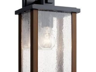 KICHlER Marimount 12 75 in  1 light Black Outdoor Sconce with Clear Glass