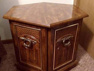 Hexagonal Wooden End Table