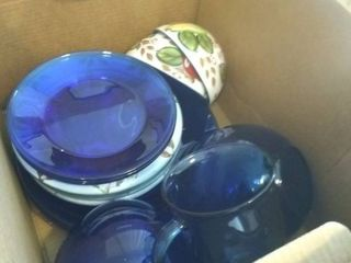 lot of Blue and Floral Print Dishes