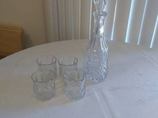 Vintage Crown Royal Glass Decanter and Cups