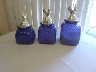 Vintage Blue Glass Canester Set