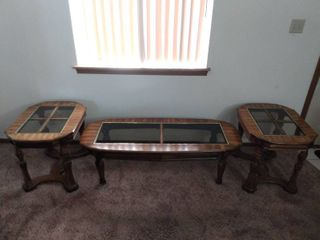 Coffee Table and Two End Tables Matched Set