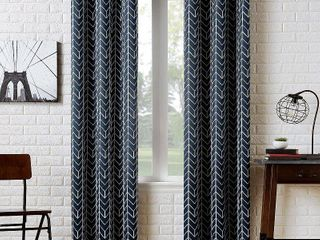 84 x40  Kenwood Chevron Blackout Grommet Top Curtain Panel Navy   Sun Zero