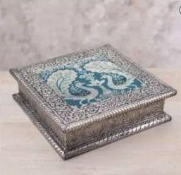 Handmade Nickel plated brass decorative box Majestic Peacock  India