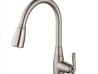 KRAUS Single Handle Stainless Steel High Arch Kitchen Faucet with Pull Down Dual Function Sprayer in Satin Nickel