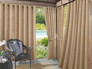 108 x54  Sailor Indoor Outdoor UV Protectant Grommet Top Curtain Panel Beige   Sun Zero