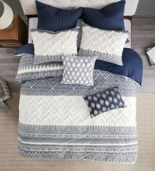The Curated Nomad Natoma Navy Cotton Chenille Printed Duvet Cover Set Retail 116 99