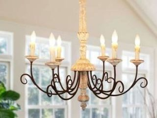 French country 6 light wood candle style light